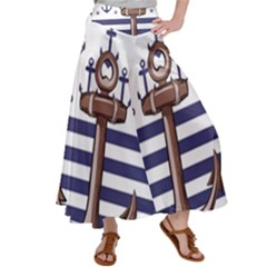 Anchor Background Design Satin Palazzo Pants