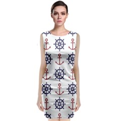 Nautical Seamless Pattern Sleeveless Velvet Midi Dress