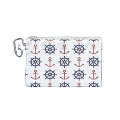 Nautical Seamless Pattern Canvas Cosmetic Bag (small)