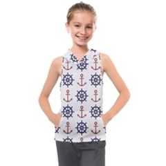 Nautical Seamless Pattern Kids  Sleeveless Hoodie by Vaneshart