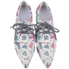 Transportation Seamless Pattern Women s Pointed Oxford Shoes