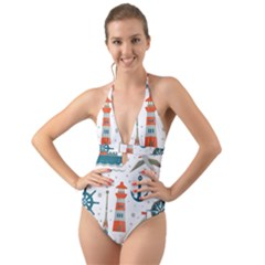 Nautical Elements Pattern Background Halter Cut-out One Piece Swimsuit