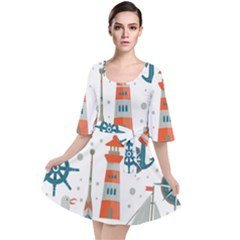 Nautical Elements Pattern Background Velour Kimono Dress