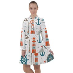 Nautical Elements Pattern Background All Frills Chiffon Dress