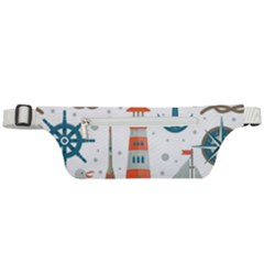 Nautical Elements Pattern Background Active Waist Bag