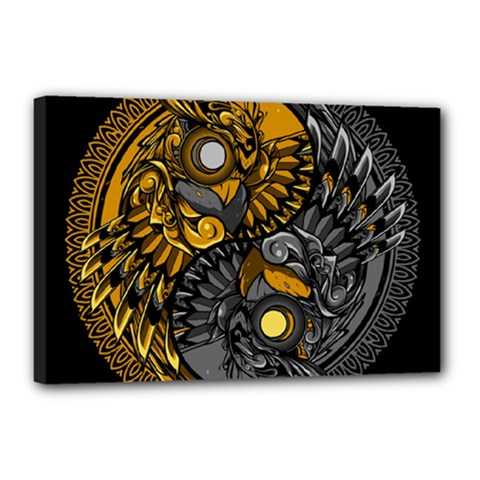 Yin Yang Owl Doodle Ornament Illustration Canvas 18  X 12  (stretched)