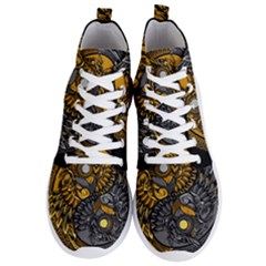 Yin Yang Owl Doodle Ornament Illustration Men s Lightweight High Top Sneakers