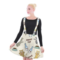 Happy Cats Pattern Background Suspender Skater Skirt