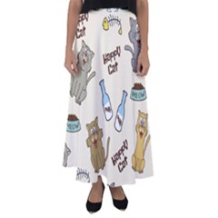 Happy Cats Pattern Background Flared Maxi Skirt