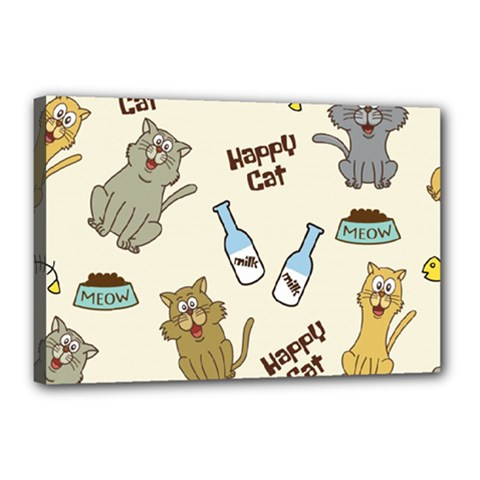 Happy Cats Pattern Background Canvas 18  X 12  (stretched)