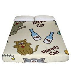 Happy Cats Pattern Background Fitted Sheet (queen Size)