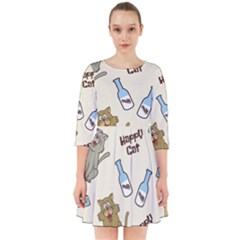 Happy Cats Pattern Background Smock Dress