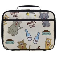 Happy Cats Pattern Background Full Print Lunch Bag