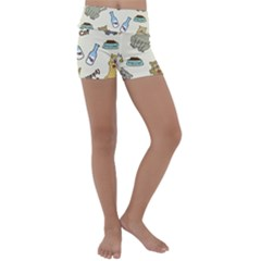 Happy Cats Pattern Background Kids  Lightweight Velour Yoga Shorts