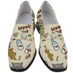 Happy Cats Pattern Background Women s Chunky Heel Loafers by Vaneshart