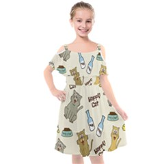 Happy Cats Pattern Background Kids  Cut Out Shoulders Chiffon Dress by Vaneshart