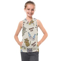 Happy Cats Pattern Background Kids  Sleeveless Hoodie