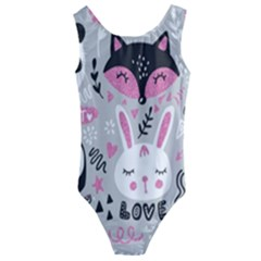 Big Set With Cute Cartoon Animals Bear Panda Bunny Penguin Cat Fox Kids  Cut Out Back One Piece Swimsuit