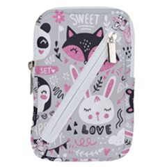 Big Set With Cute Cartoon Animals Bear Panda Bunny Penguin Cat Fox Belt Pouch Bag (large)