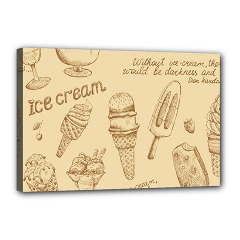 Ice Cream Vintage Pattern Canvas 18  X 12  (stretched)
