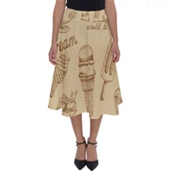 Ice Cream Vintage Pattern Perfect Length Midi Skirt