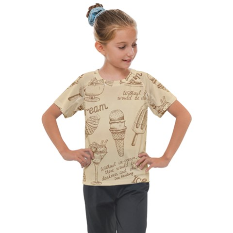Ice Cream Vintage Pattern Kids  Mesh Piece Tee by Vaneshart