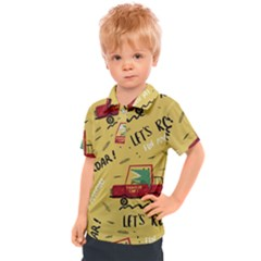 Childish Seamless Pattern With Dino Driver Kids  Polo Tee