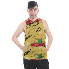 Childish Seamless Pattern With Dino Driver Men s Sleeveless Hoodie