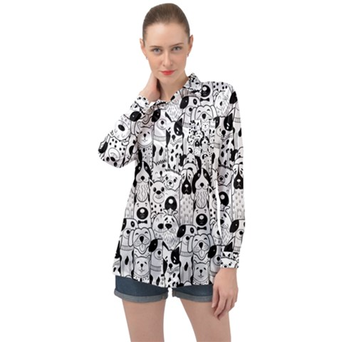 Seamless Pattern With Black White Doodle Dogs Long Sleeve Satin Shirt by Vaneshart