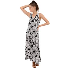 Seamless Pattern With Black White Doodle Dogs V-neck Chiffon Maxi Dress
