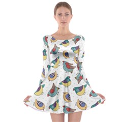 Seamless Pattern With Hand Drawn Bird Black Long Sleeve Skater Dress