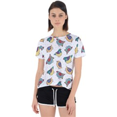 Seamless Pattern With Hand Drawn Bird Black Open Back Sport Tee