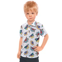 Seamless Pattern With Hand Drawn Bird Black Kids  Polo Tee