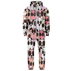 Cute Dog Seamless Pattern Background Hooded Jumpsuit (men)
