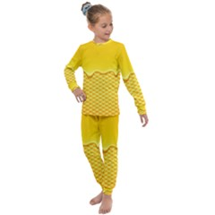 Sweet Honey Drips With Honeycomb Kids  Long Sleeve Set  by Vaneshart