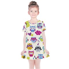 Funny Colorful Owls Kids  Simple Cotton Dress by Vaneshart
