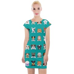 Different Type Vector Cartoon Dog Faces Cap Sleeve Bodycon Dress