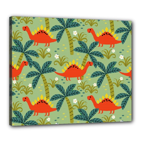 Cute Colorful Dinosaur Seamless Pattern Canvas 24  X 20  (stretched)