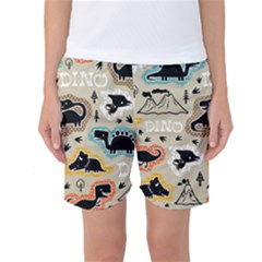 Seamless Pattern With Dinosaurs Silhouette Women s Basketball Shorts