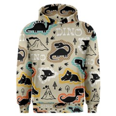 Seamless Pattern With Dinosaurs Silhouette Men s Overhead Hoodie