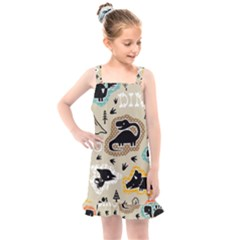 Seamless Pattern With Dinosaurs Silhouette Kids  Overall Dress