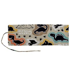 Seamless Pattern With Dinosaurs Silhouette Roll Up Canvas Pencil Holder (m) by Vaneshart