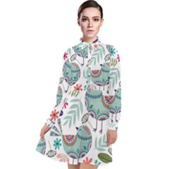 Floral Pattern With Birds Flowers Leaves Dark Background Long Sleeve Chiffon Shirt Dress