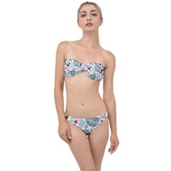Floral Pattern With Birds Flowers Leaves Dark Background Classic Bandeau Bikini Set