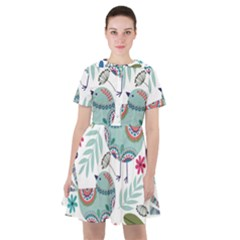 Floral Pattern With Birds Flowers Leaves Dark Background Sailor Dress