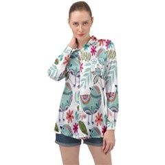 Floral Pattern With Birds Flowers Leaves Dark Background Long Sleeve Satin Shirt