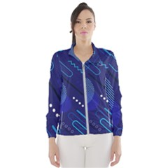 Classic Blue Background Abstract Style Women s Windbreaker