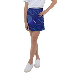 Classic Blue Background Abstract Style Kids  Tennis Skirt by Vaneshart