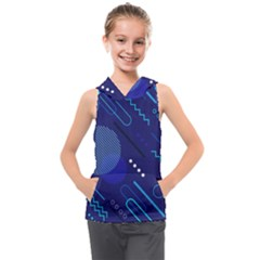 Classic Blue Background Abstract Style Kids  Sleeveless Hoodie