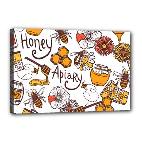 Honey Seamless Pattern Canvas 18  X 12  (stretched)
